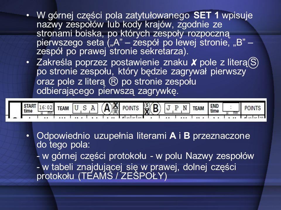 W górnej części pola zatytułowanego SET 1 wpisuje nazwy zespołów lub kody krajów, zgodnie ze stronami boiska, po których zespoły rozpoczną pierwszego