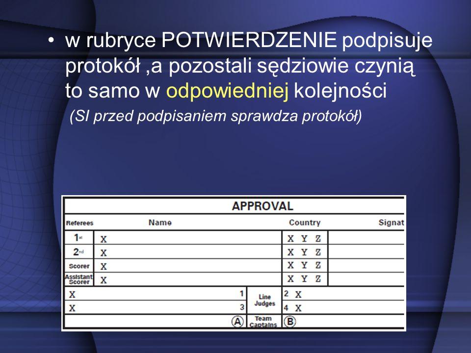 w rubryce POTWIERDZENIE podpisuje protokół,a pozostali sędziowie czynią to samo w odpowiedniej kolejności (SI przed podpisaniem sprawdza protokół)