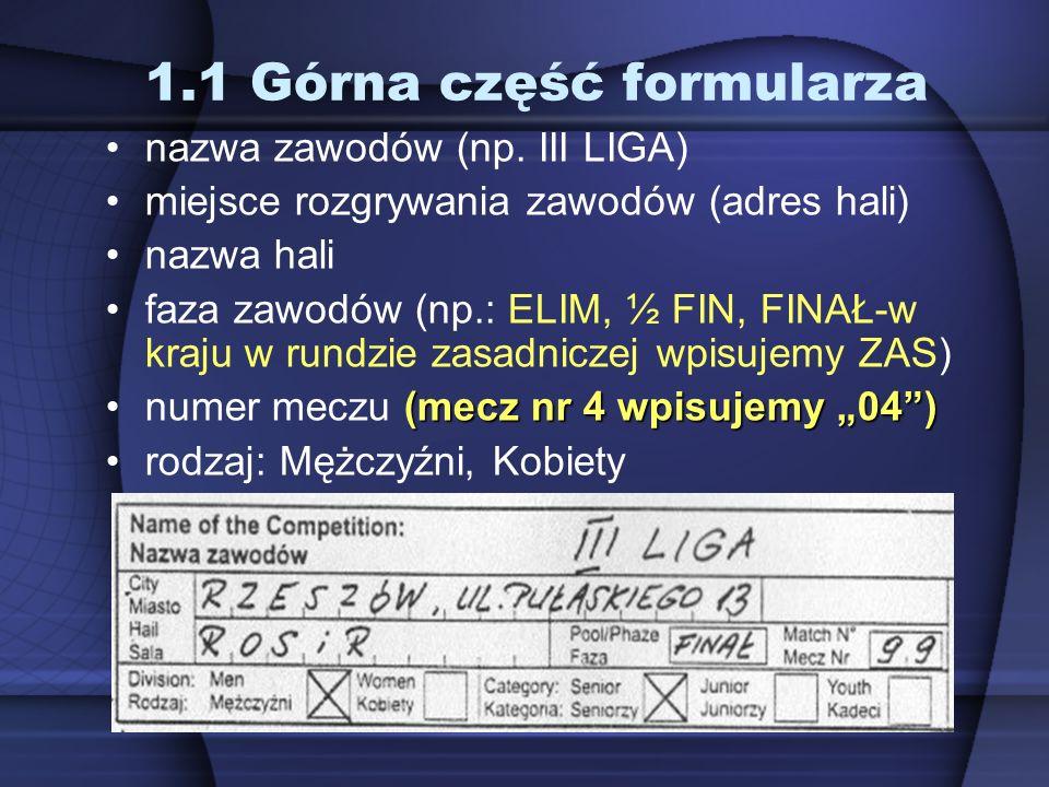 1.1 Górna część formularza nazwa zawodów (np. III LIGA) miejsce rozgrywania zawodów (adres hali) nazwa hali faza zawodów (np.: ELIM, ½ FIN, FINAŁ-w kr