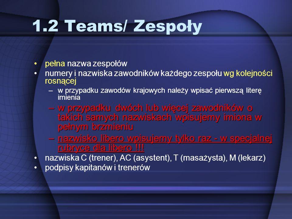 1.2 Teams/ Zespoły pełna nazwa zespołów numery i nazwiska zawodników każdego zespołu wg kolejności rosnącej –w przypadku zawodów krajowych należy wpis