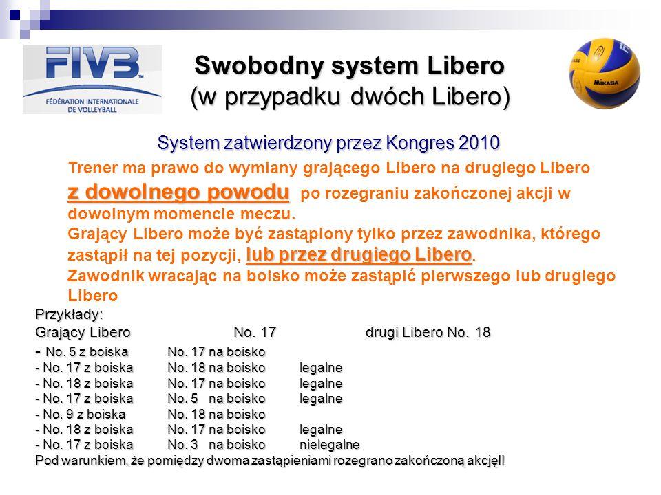 Swobodny system Libero (w przypadku dwóch Libero) System zatwierdzony przez Kongres 2010 z dowolnego powodu lub przez drugiego Libero Trener ma prawo