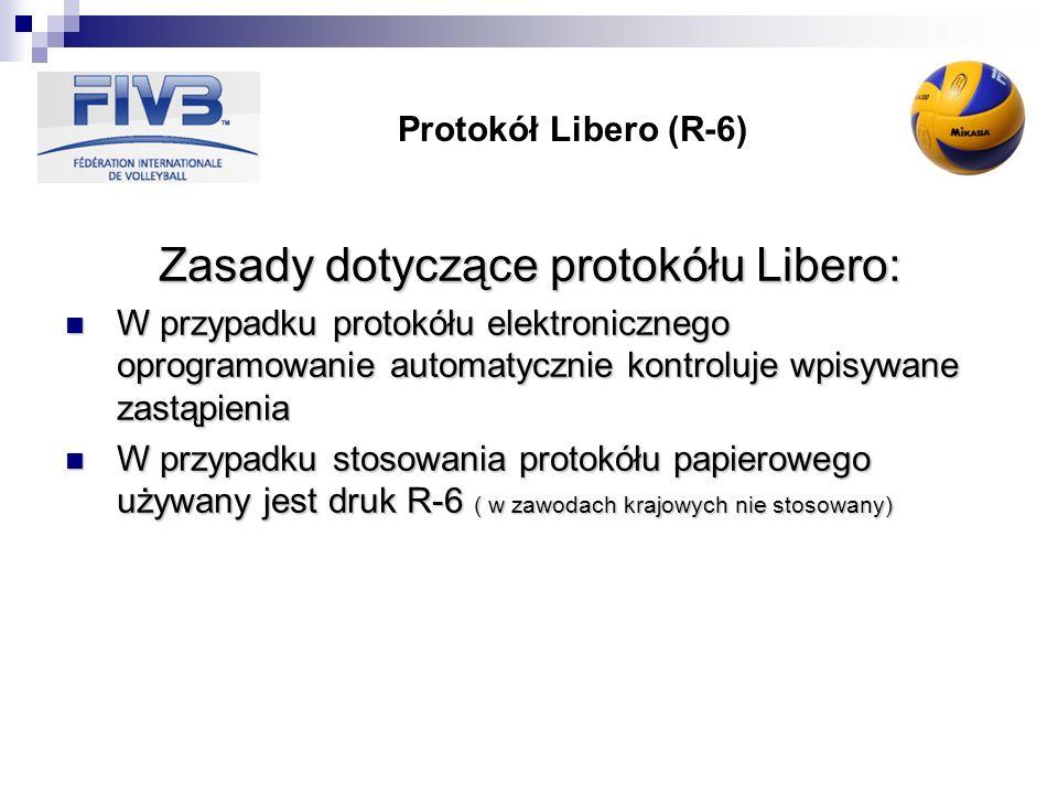 Protokół Libero (R-6) Zasady dotyczące protokółu Libero: W przypadku protokółu elektronicznego oprogramowanie automatycznie kontroluje wpisywane zastą