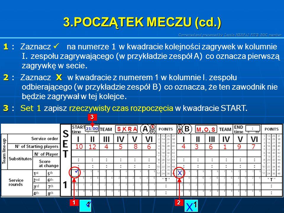 Corrected and presented b y Laszlo HERPAI FIVB RGC member 3.POCZĄTEK MECZU (cd.) W pisz numery zawodników podstawowych zgodnie z kartkami z ustawienie