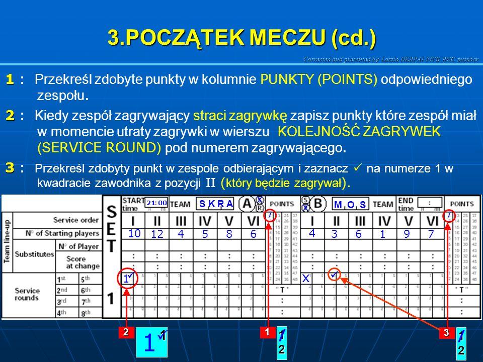 Corrected and presented b y Laszlo HERPAI FIVB RGC member 3.POCZĄTEK MECZU (cd.) 1 1 : Zaznacz na numerze 1 w kwadracie kolejności zagrywek w kolumnie I.
