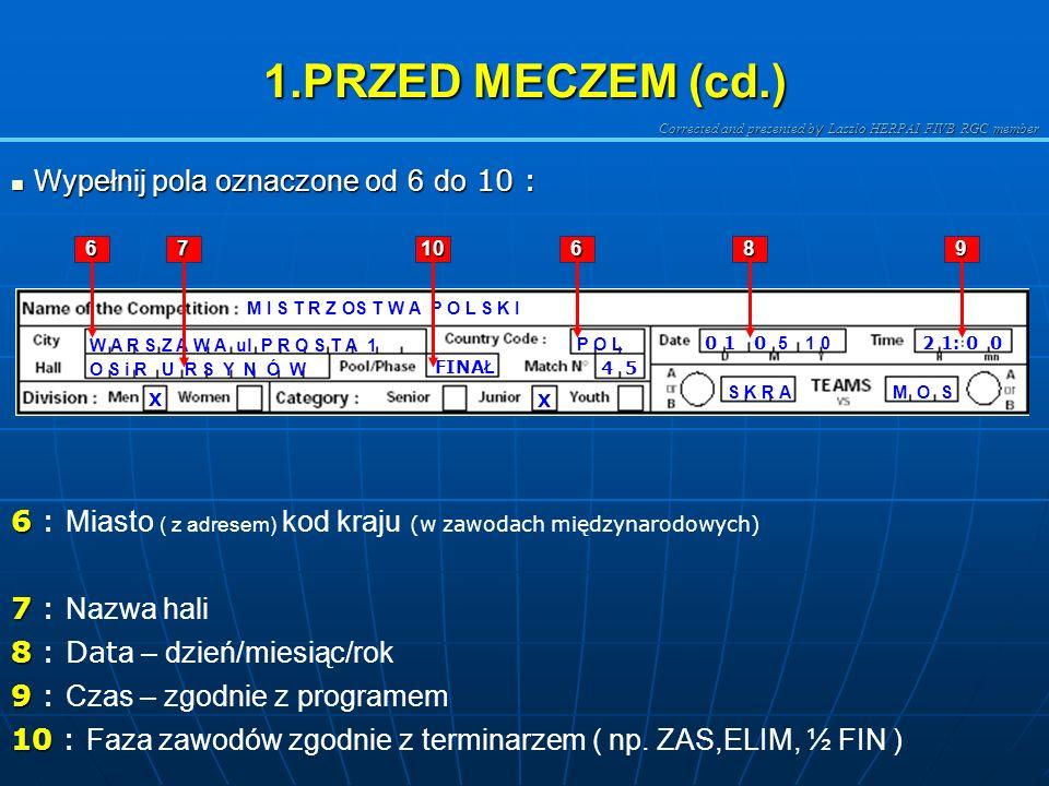 Corrected and presented b y Laszlo HERPAI FIVB RGC member 1.Przed meczem 1.Przed meczem Wypełnianie rubryk i pól 1- 5 : Wypełnianie rubryk i pól 1- 5