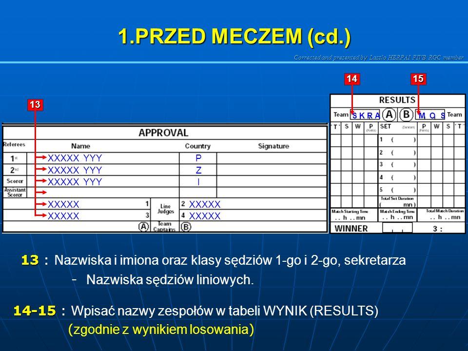 Corrected and presented b y Laszlo HERPAI FIVB RGC member 1.PRZED MECZEM (cd.) 13 13 : N azwiska i imiona oraz klasy sędziów 1-go i 2-go, sekretarza M O SS K R A 1415 13 14-15 14-15 : Wpisać nazwy zespołów w tabeli WYNIK (RESULTS) ( zgodnie z wynikiem losowania ) XXXXX YYYP Z I XXXXX - Nazwiska sędziów liniowych.