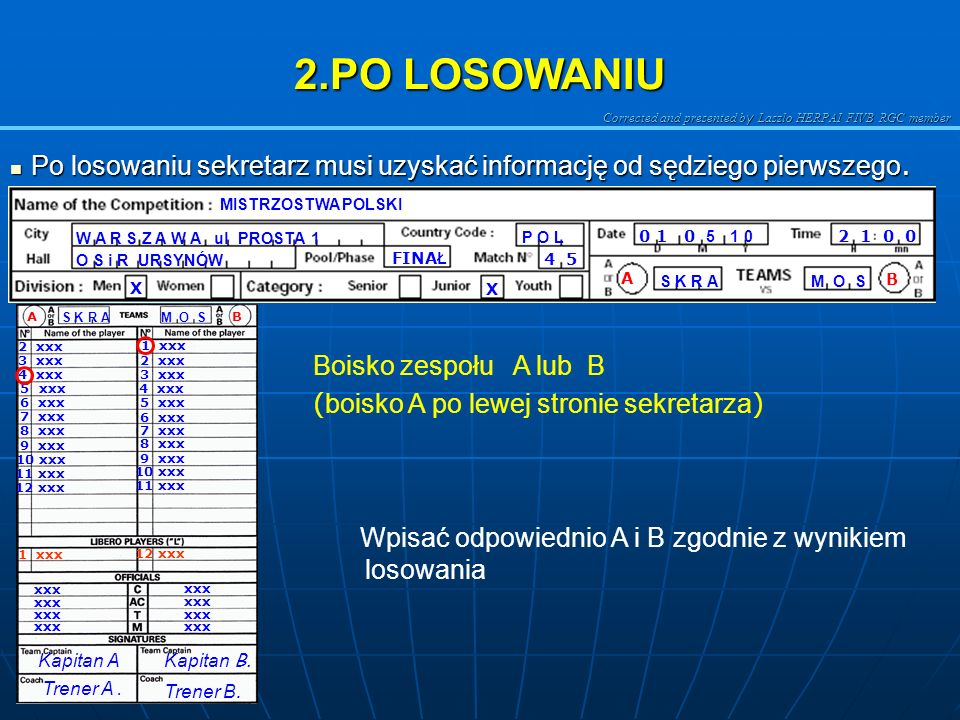 Corrected and presented b y Laszlo HERPAI FIVB RGC member 2.PO LOSOWANIU Po losowaniu sekretarz musi uzyskać informację od sędziego pierwszego.