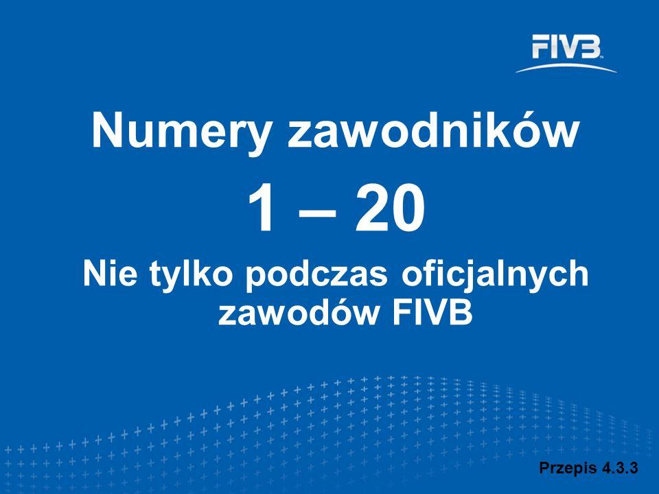 Przepis 4.3.3 Numery zawodników 1 – 20 Nie tylko podczas oficjalnych zawodów FIVB