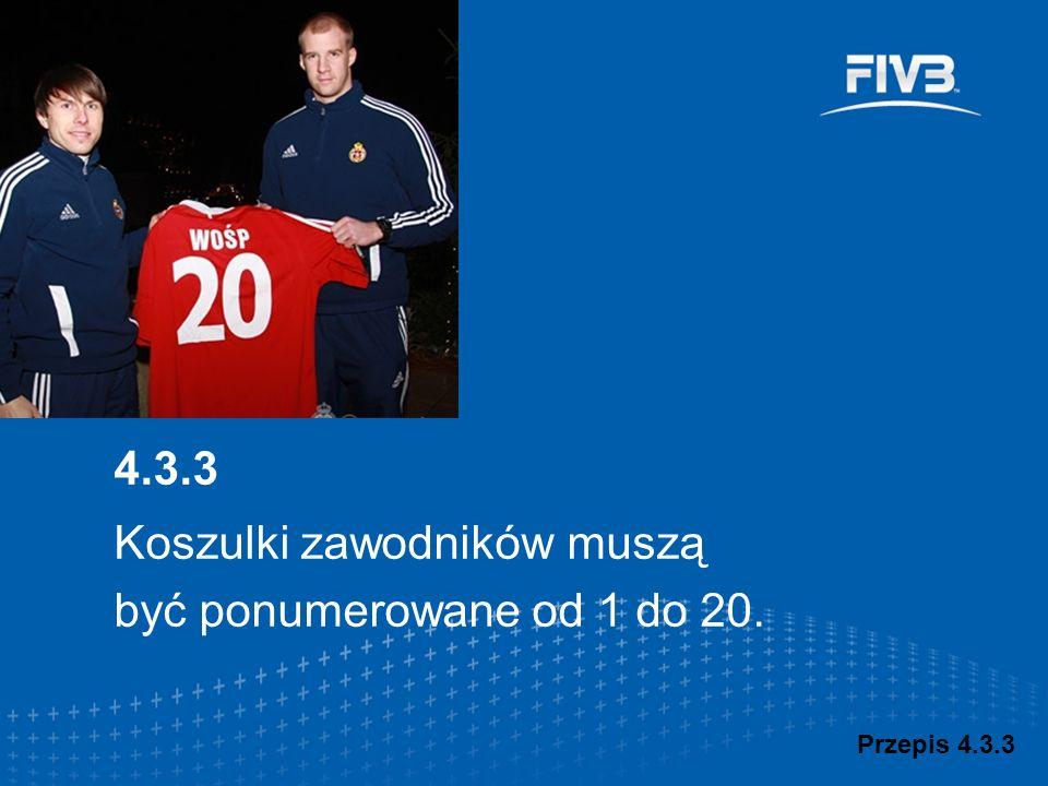 Koszulki zawodników muszą być ponumerowane od 1 do 20. Przepis 4.3.3 4.3.3