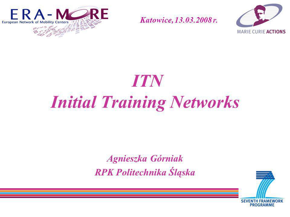 ITN Initial Training Networks Agnieszka Górniak RPK Politechnika Śląska Katowice, 13.03.2008 r.