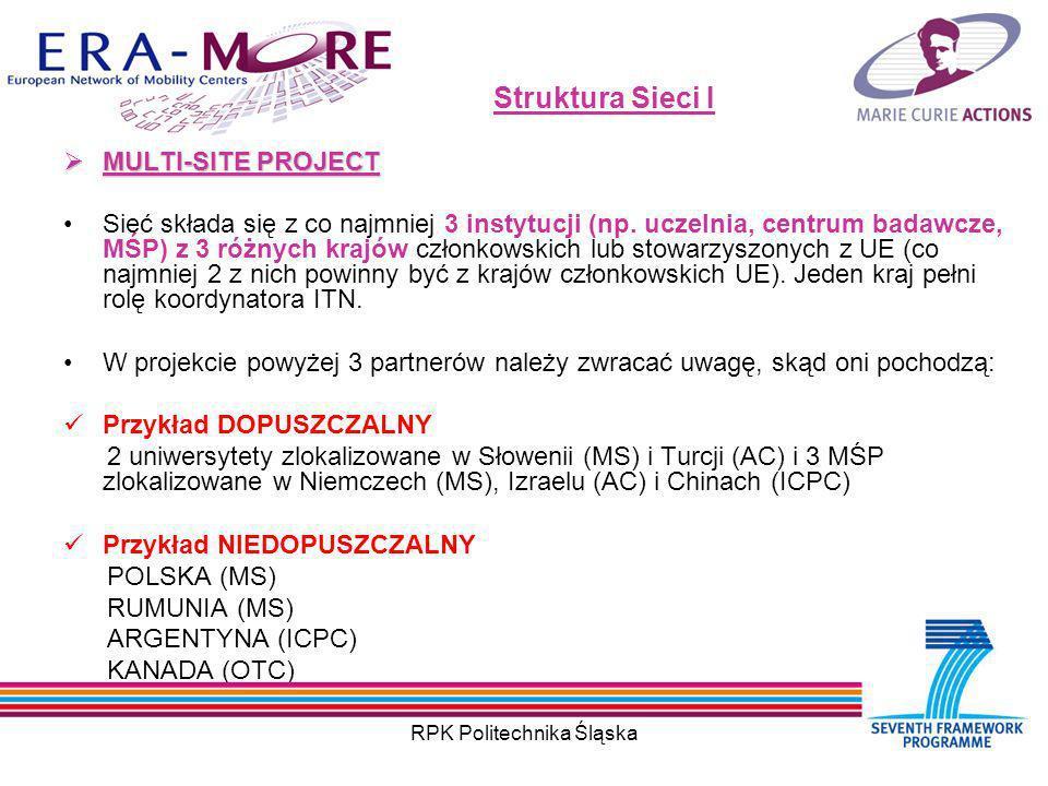 RPK Politechnika Śląska Struktura Sieci I MULTI-SITE PROJECT MULTI-SITE PROJECT Sieć składa się z co najmniej 3 instytucji (np.