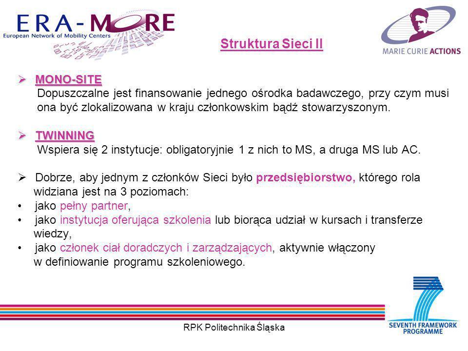 RPK Politechnika Śląska Struktura Sieci II MONO-SITE MONO-SITE Dopuszczalne jest finansowanie jednego ośrodka badawczego, przy czym musi ona być zlokalizowana w kraju członkowskim bądź stowarzyszonym.