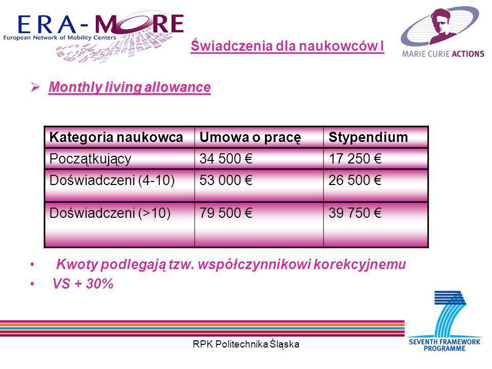 RPK Politechnika Śląska Świadczenia dla naukowców I Monthly living allowance Monthly living allowance Kwoty podlegają tzw.