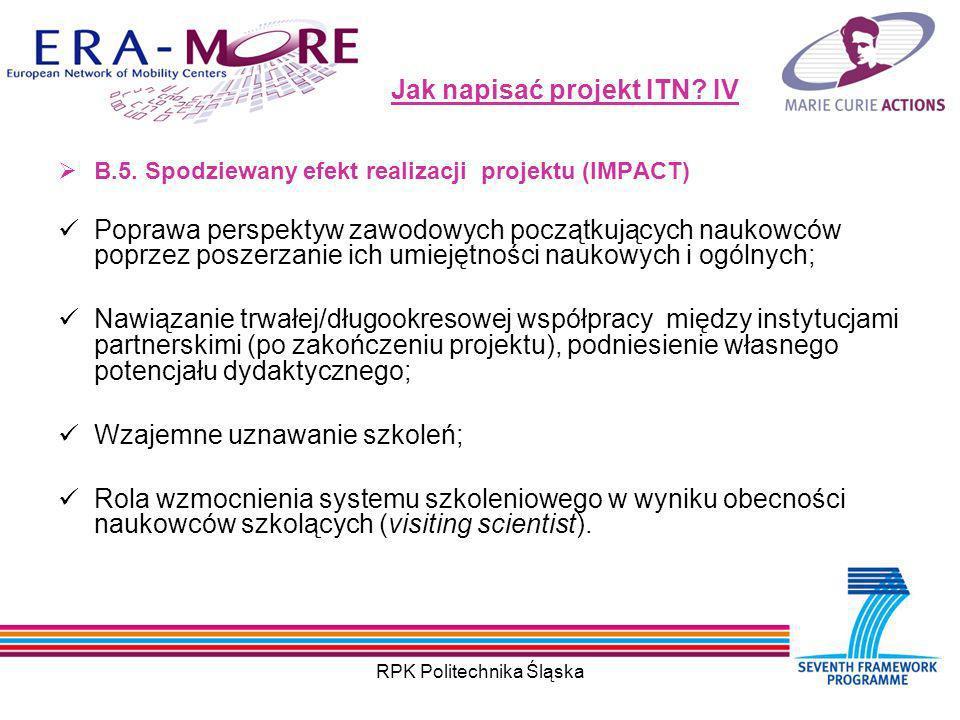 RPK Politechnika Śląska Jak napisać projekt ITN. IV B.5.