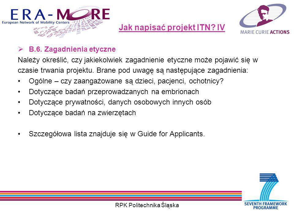 RPK Politechnika Śląska Jak napisać projekt ITN. IV B.6.
