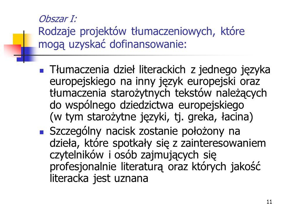 11 Obszar I: Rodzaje projektów tłumaczeniowych, które mogą uzyskać dofinansowanie: Tłumaczenia dzieł literackich z jednego języka europejskiego na inn