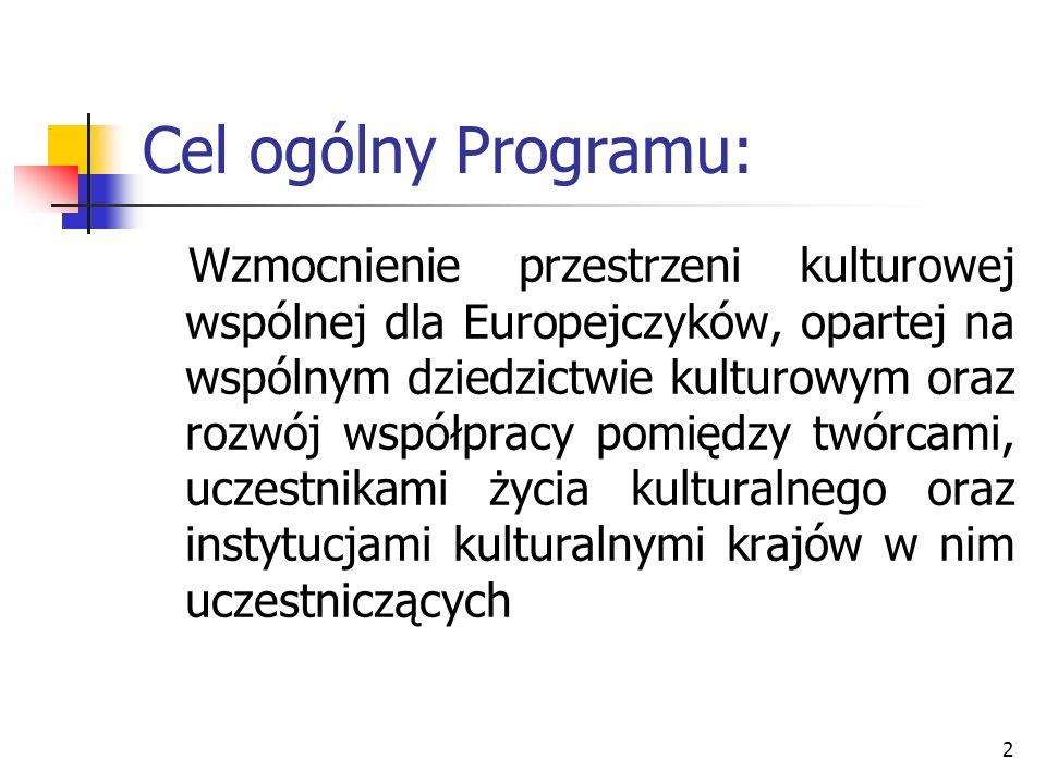 2 Cel ogólny Programu: Wzmocnienie przestrzeni kulturowej wspólnej dla Europejczyków, opartej na wspólnym dziedzictwie kulturowym oraz rozwój współpra