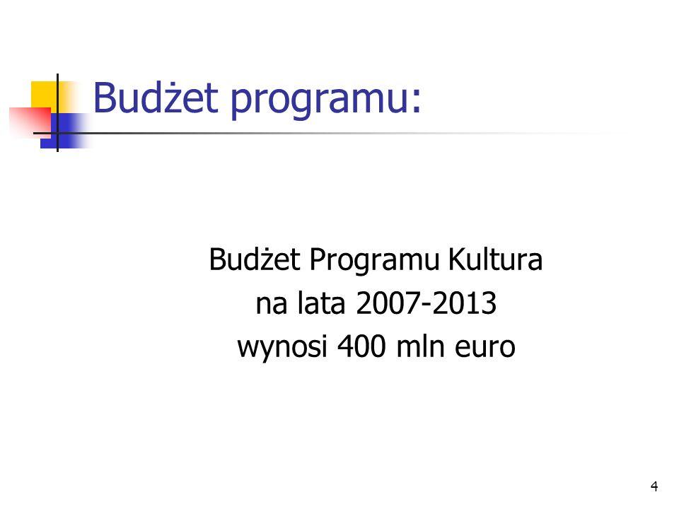 4 Budżet programu: Budżet Programu Kultura na lata 2007-2013 wynosi 400 mln euro