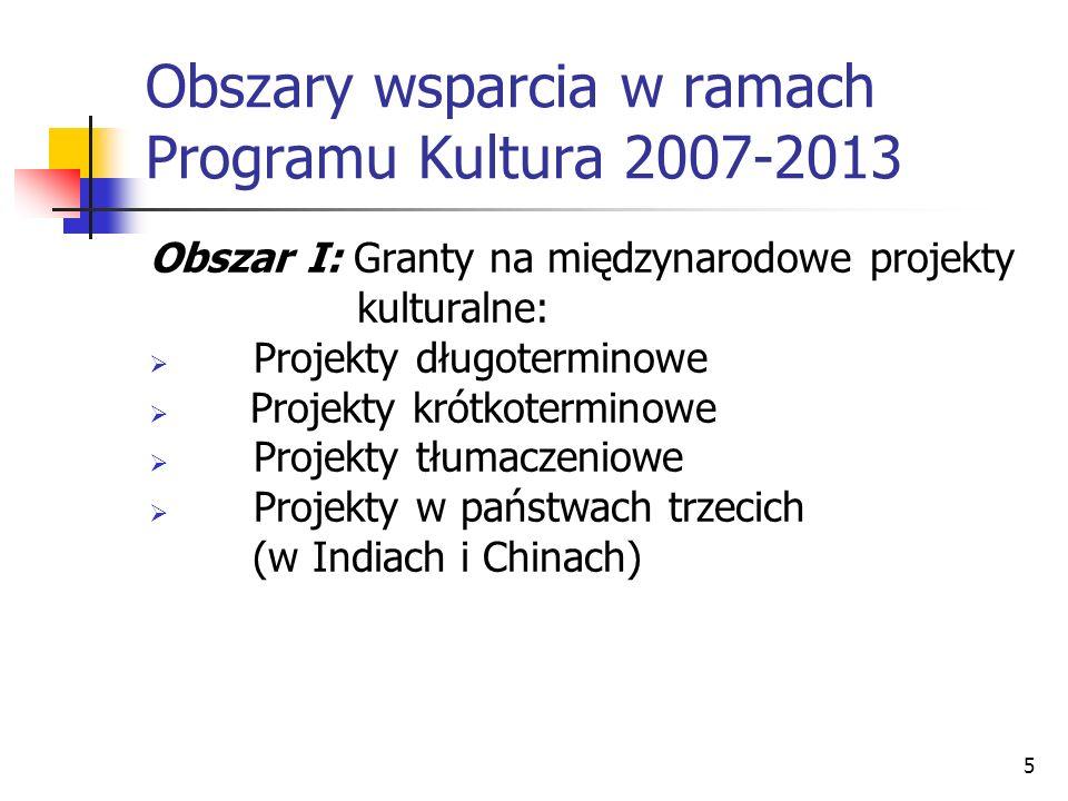 5 Obszary wsparcia w ramach Programu Kultura 2007-2013 Obszar I: Granty na międzynarodowe projekty kulturalne: Projekty długoterminowe Projekty krótko