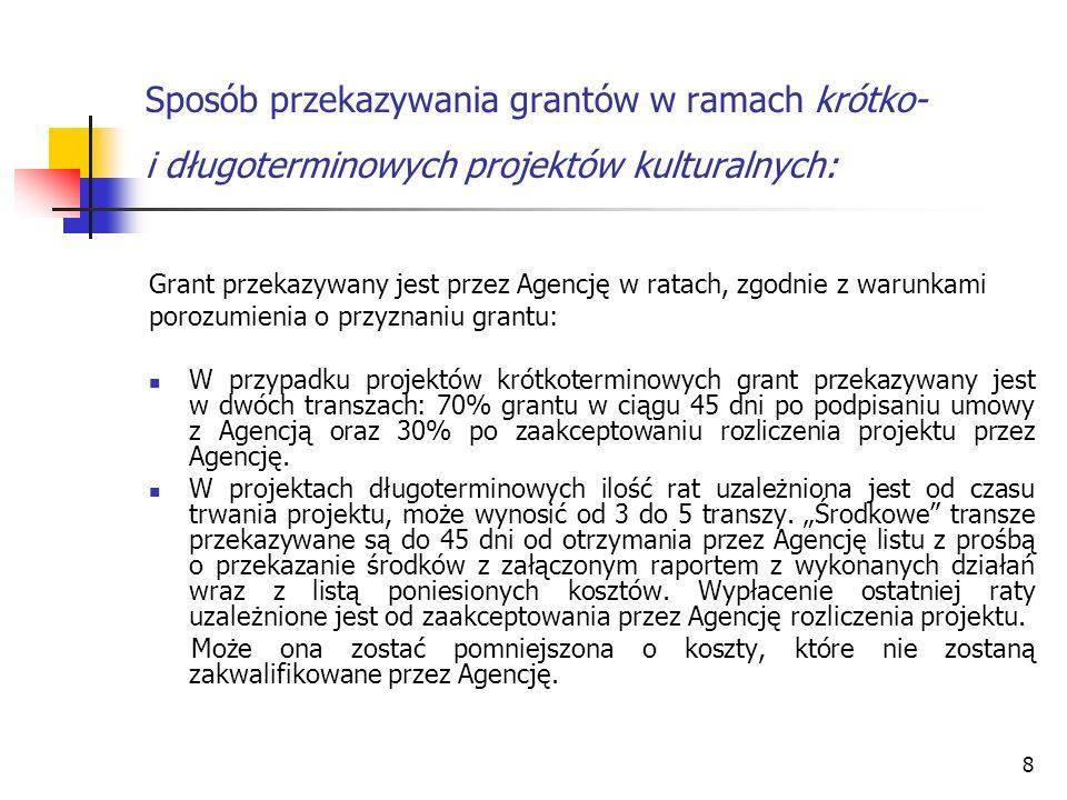 8 Sposób przekazywania grantów w ramach krótko- i długoterminowych projektów kulturalnych: Grant przekazywany jest przez Agencję w ratach, zgodnie z w