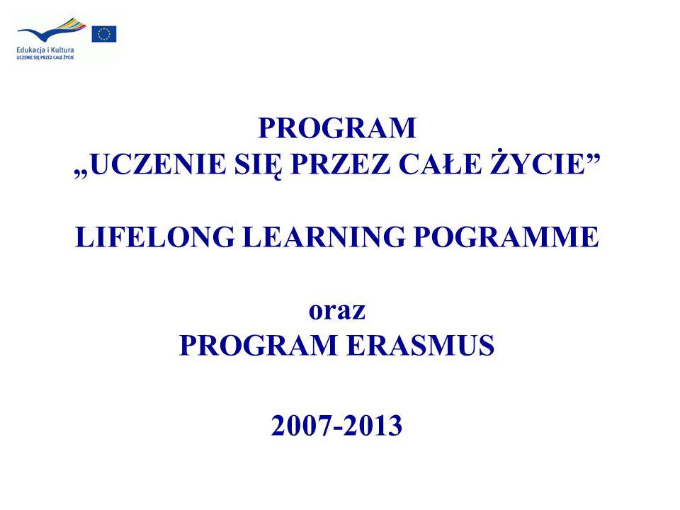 PROGRAM UCZENIE SIĘ PRZEZ CAŁE ŻYCIE LIFELONG LEARNING POGRAMME oraz PROGRAM ERASMUS 2007-2013