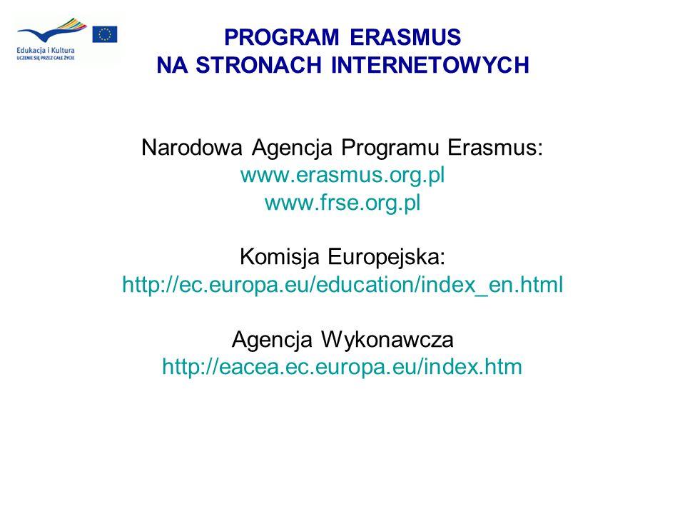 PROGRAM ERASMUS NA STRONACH INTERNETOWYCH Narodowa Agencja Programu Erasmus: www.erasmus.org.pl www.frse.org.pl Komisja Europejska: http://ec.europa.e