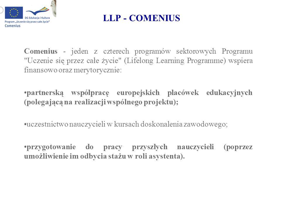 LLP - COMENIUS Comenius - jeden z czterech programów sektorowych Programu