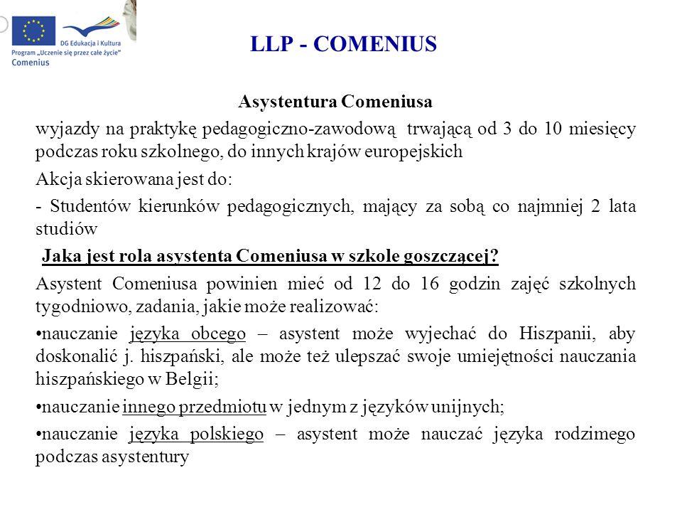 LLP - COMENIUS Asystentura Comeniusa wyjazdy na praktykę pedagogiczno-zawodową trwającą od 3 do 10 miesięcy podczas roku szkolnego, do innych krajów e