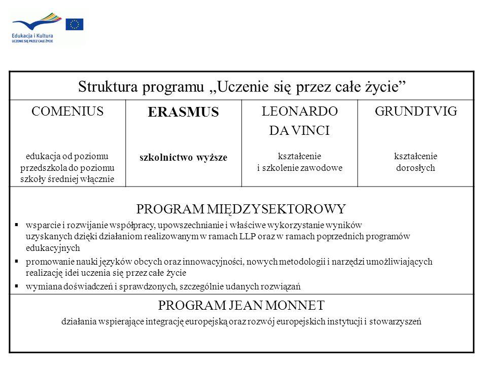 Struktura programu Uczenie się przez całe życie COMENIUS edukacja od poziomu przedszkola do poziomu szkoły średniej włącznie ERASMUS szkolnictwo wyższ
