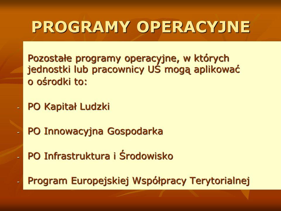 PROGRAMY OPERACYJNE Pozostałe programy operacyjne, w których jednostki lub pracownicy UŚ mogą aplikować o ośrodki to: - PO Kapitał Ludzki - PO Innowacyjna Gospodarka - PO Infrastruktura i Środowisko - Program Europejskiej Współpracy Terytorialnej