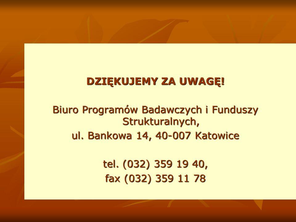 DZIĘKUJEMY ZA UWAGĘ. Biuro Programów Badawczych i Funduszy Strukturalnych, ul.