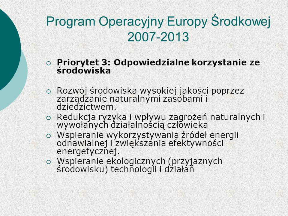 Program Operacyjny Europy Środkowej 2007-2013 Priorytet 3: Odpowiedzialne korzystanie ze środowiska Rozwój środowiska wysokiej jakości poprzez zarządzanie naturalnymi zasobami i dziedzictwem.