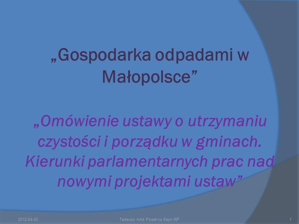 Gospodarka odpadami w Małopolsce Omówienie ustawy o utrzymaniu czystości i porządku w gminach.