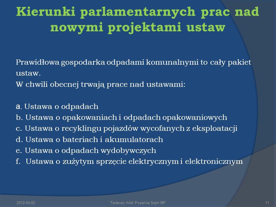 Kierunki parlamentarnych prac nad nowymi projektami ustaw Prawidłowa gospodarka odpadami komunalnymi to cały pakiet ustaw.