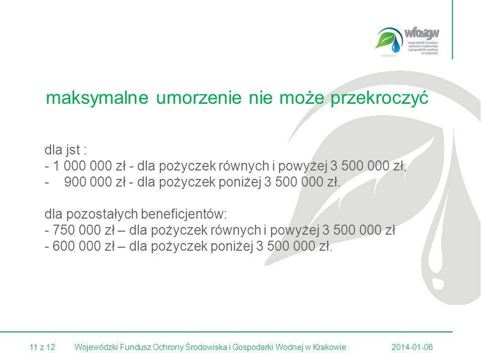 11 z 122014-01-06Wojewódzki Fundusz Ochrony Środowiska i Gospodarki Wodnej w Krakowie dla jst : - 1 000 000 zł - dla pożyczek równych i powyżej 3 500