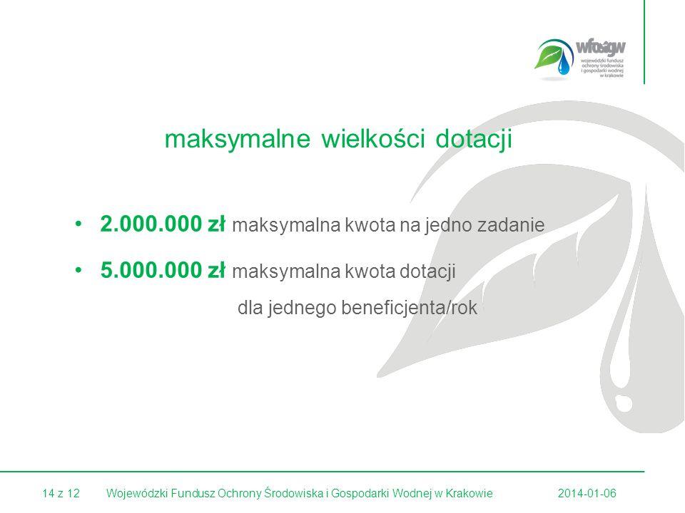 14 z 122014-01-06Wojewódzki Fundusz Ochrony Środowiska i Gospodarki Wodnej w Krakowie maksymalne wielkości dotacji 2.000.000 zł maksymalna kwota na je