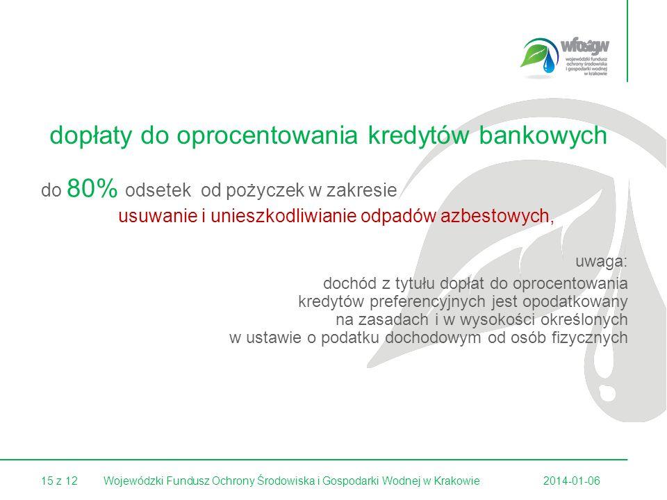 15 z 122014-01-06Wojewódzki Fundusz Ochrony Środowiska i Gospodarki Wodnej w Krakowie dopłaty do oprocentowania kredytów bankowych do 80% odsetek od p