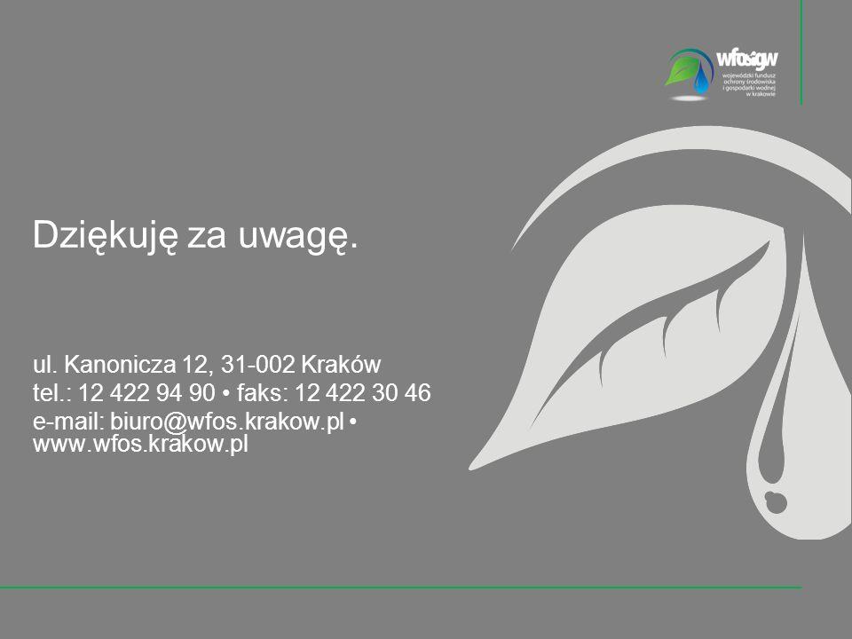 ul. Kanonicza 12, 31-002 Kraków tel.: 12 422 94 90 faks: 12 422 30 46 e-mail: biuro@wfos.krakow.pl www.wfos.krakow.pl Dziękuję za uwagę.