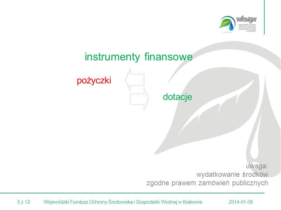 5 z 122014-01-06Wojewódzki Fundusz Ochrony Środowiska i Gospodarki Wodnej w Krakowie instrumenty finansowe dotacje pożyczki uwaga: wydatkowanie środków zgodne prawem zamówień publicznych