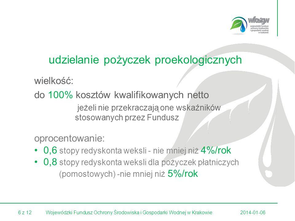 6 z 122014-01-06Wojewódzki Fundusz Ochrony Środowiska i Gospodarki Wodnej w Krakowie udzielanie pożyczek proekologicznych wielkość: do 100% kosztów kw