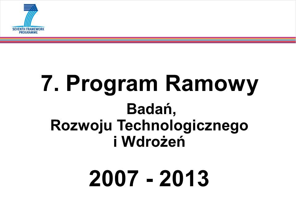 7. Program Ramowy Badań, Rozwoju Technologicznego i Wdrożeń 2007 - 2013