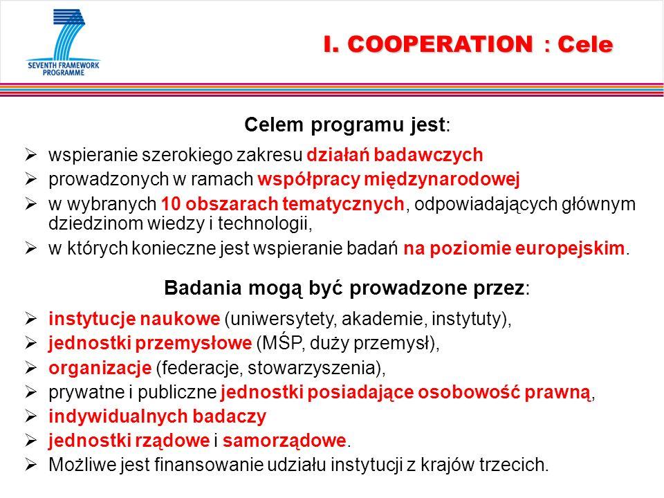 I. COOPERATION : Cele Celem programu jest: wspieranie szerokiego zakresu działań badawczych prowadzonych w ramach współpracy międzynarodowej w wybrany