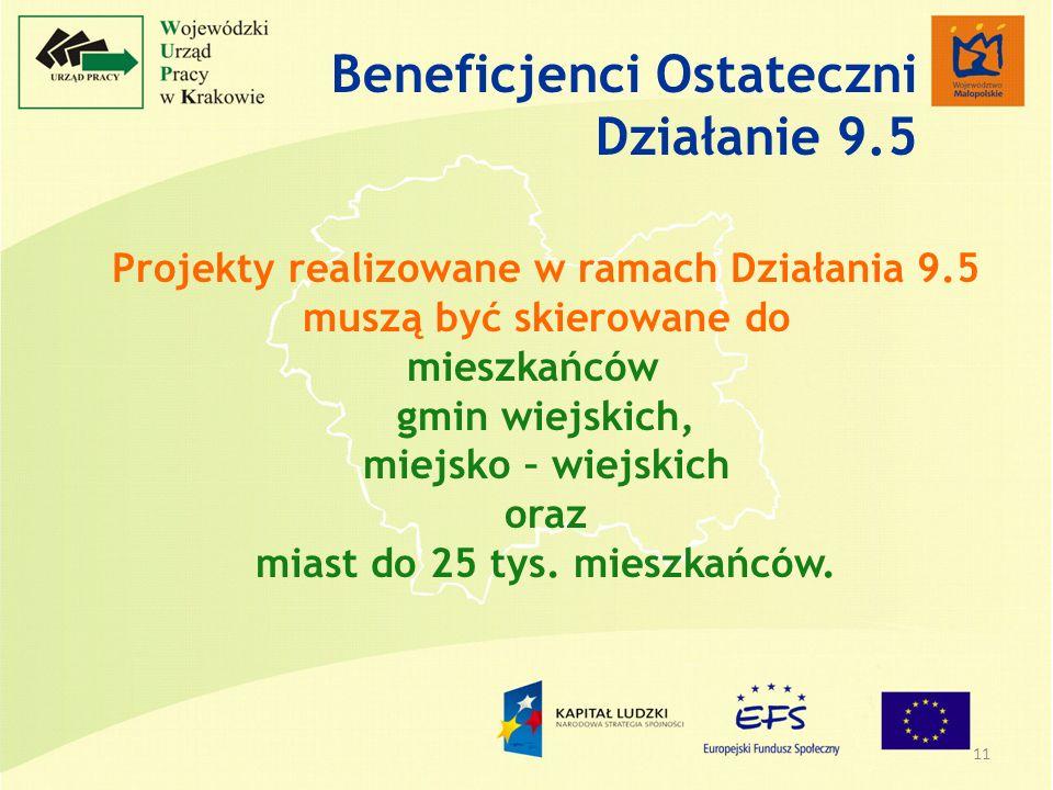 11 Projekty realizowane w ramach Działania 9.5 muszą być skierowane do mieszkańców gmin wiejskich, miejsko – wiejskich oraz miast do 25 tys.