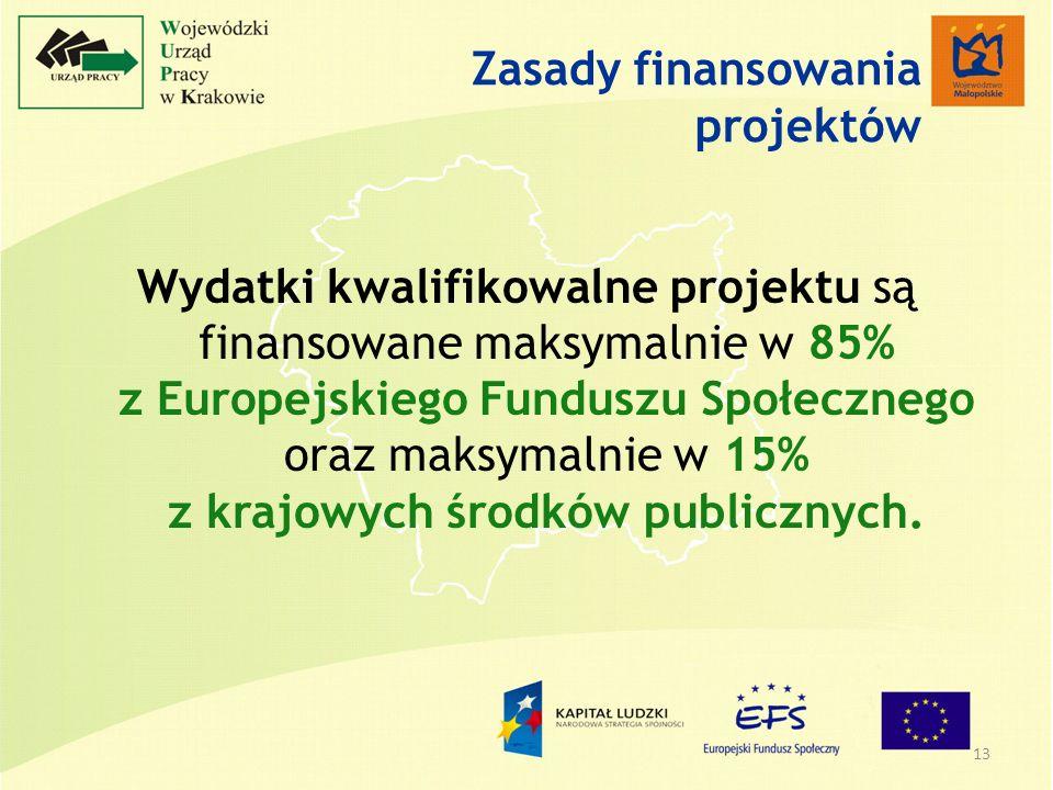 13 Zasady finansowania projektów Wydatki kwalifikowalne projektu są finansowane maksymalnie w 85% z Europejskiego Funduszu Społecznego oraz maksymalnie w 15% z krajowych środków publicznych.