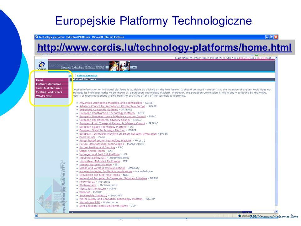 Regionalny Punkt Kontaktowy RPK Katarzyna Markiewicz-Śliwa http://www.cordis.lu/technology-platforms/home.html Europejskie Platformy Technologiczne