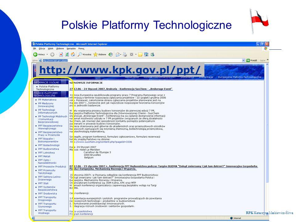 Regionalny Punkt Kontaktowy RPK Katarzyna Markiewicz-Śliwa Polskie Platformy Technologiczne http://www.kpk.gov.pl/ppt/