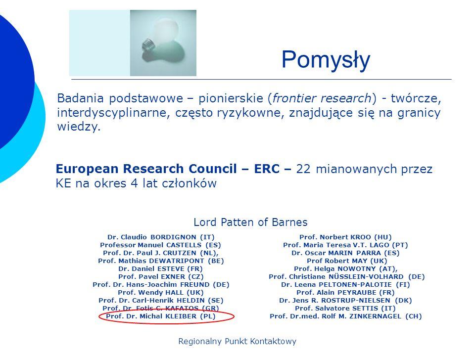 Regionalny Punkt Kontaktowy Pomysły Badania podstawowe – pionierskie (frontier research) - twórcze, interdyscyplinarne, często ryzykowne, znajdujące s