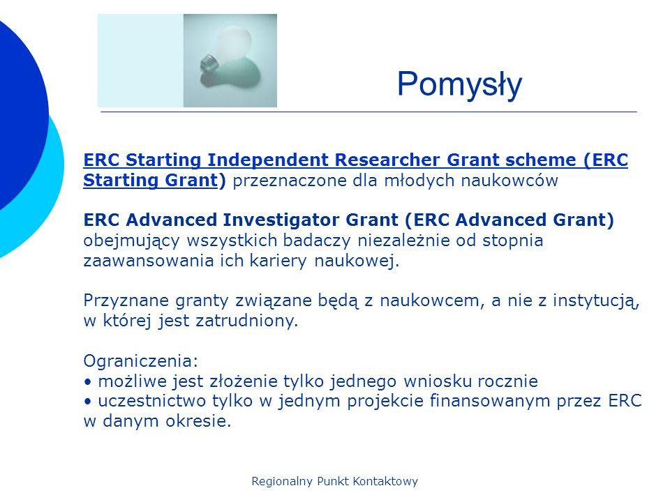 Regionalny Punkt Kontaktowy Pomysły ERC Starting Independent Researcher Grant scheme (ERC Starting GrantERC Starting Independent Researcher Grant scheme (ERC Starting Grant) przeznaczone dla młodych naukowców ERC Advanced Investigator Grant (ERC Advanced Grant) obejmujący wszystkich badaczy niezależnie od stopnia zaawansowania ich kariery naukowej.