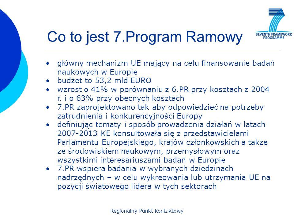 Regionalny Punkt Kontaktowy Co to jest 7.Program Ramowy główny mechanizm UE mający na celu finansowanie badań naukowych w Europie budżet to 53,2 mld E