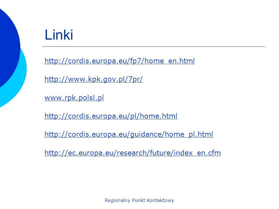 Regionalny Punkt Kontaktowy Linki http://cordis.europa.eu/fp7/home_en.html http://www.kpk.gov.pl/7pr/ www.rpk.polsl.pl http://cordis.europa.eu/pl/home.html http://cordis.europa.eu/guidance/home_pl.html http://ec.europa.eu/research/future/index_en.cfm